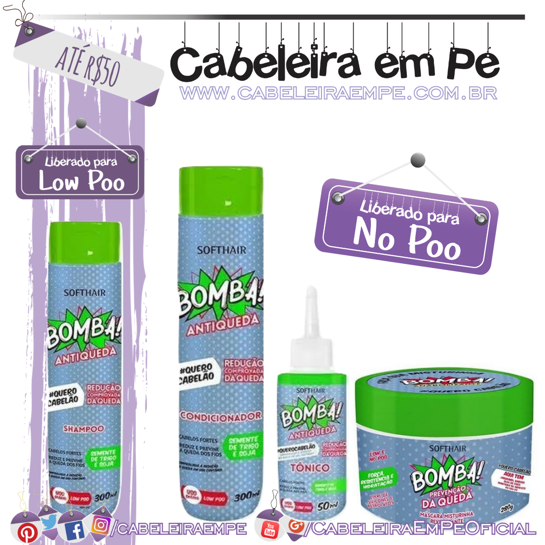 Shampoo (Low Poo), Condicionador, Máscara e Tônico (Liberados para No Poo) Antiqueda - Soft Hair - Kit Low Poo Barato
