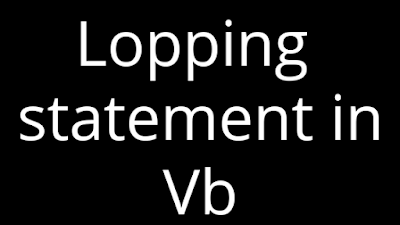 Looping statement in vb