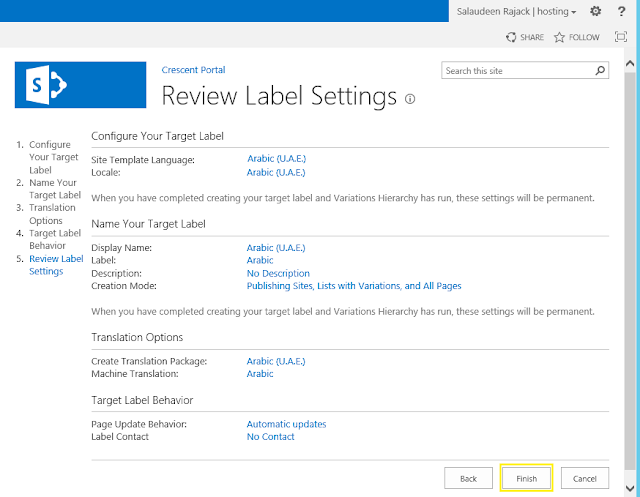 variation set up sharepoint 2013