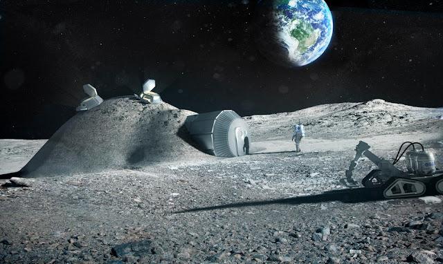 Base lunar criada a partir de impressões 3D - ESA