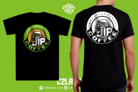 Kaos Kopi Jip Coffee - Contoh Desain Kaos Sablon Rubber Plastisol