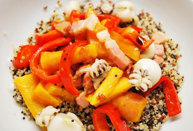 Seiches au lard et aux carottes et poivrons glacés