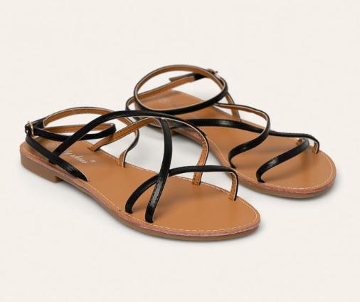 Sandale femei fara toc de vara cu barete multe negre ieftine Answear