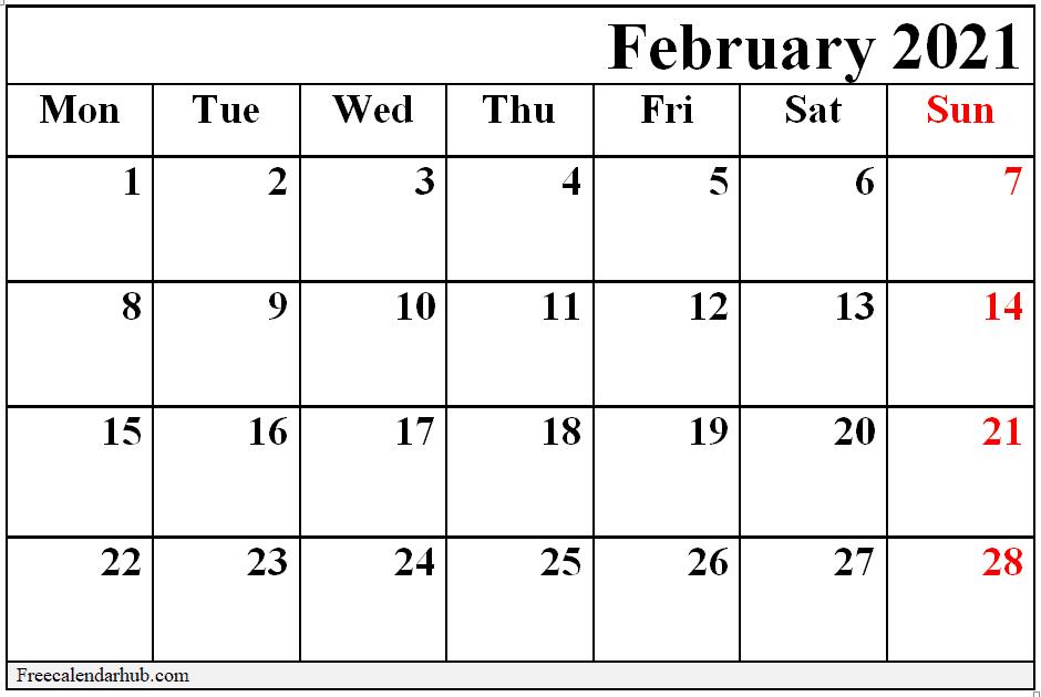 Cute Printable February 2021 Calendar Download