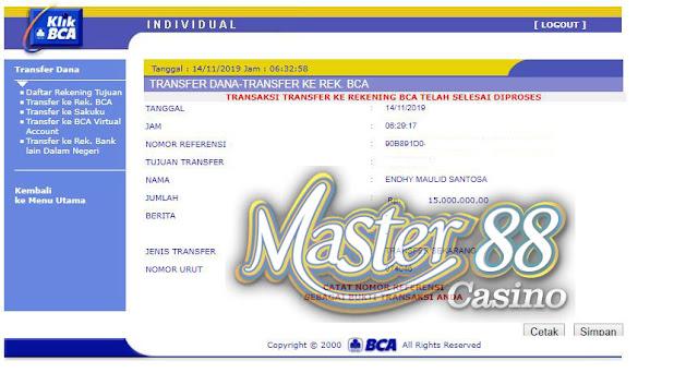 Bukti Transfer MasterCasino88 Rp 15.000.000