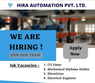 Hira Automation Pvt. Ltd Openings for ITI Fitter, Electrician, Electrical Engineer and Mechanical Diploma Holder in Pune