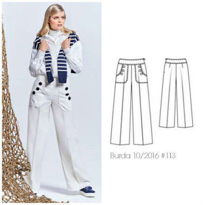 an image of a sewing pattern for pants and a blonde model wearing white pants, a white top and blue and white jumper draped around her shoulders