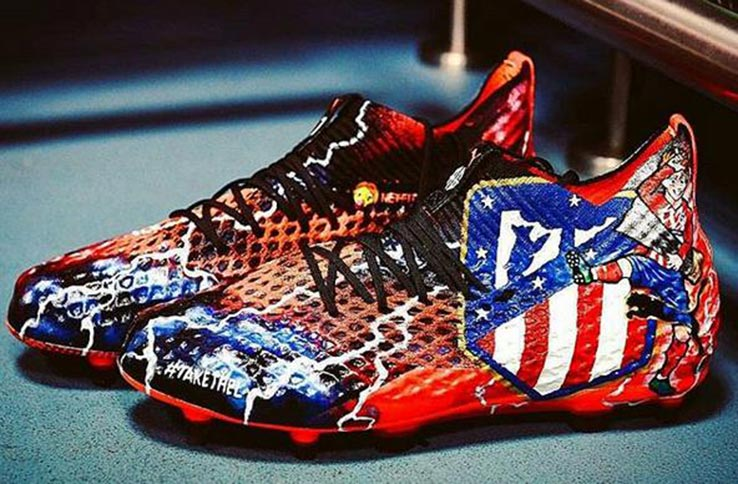 684666a94250 It is the third custom football boot Antoine Griezmann showed off this  season. He previously already wore Atletico-styled boots against Real  Madrid