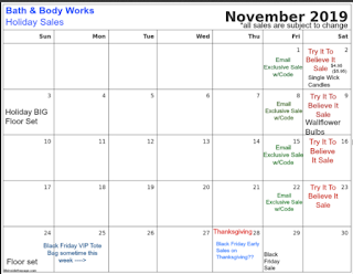 Bath & Body Works | Calendar of Sales 2019 - Try it to Believe It! and Email Exclusives | Sales Update