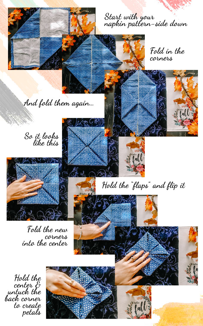 how to fold your napkin in a lotus fold