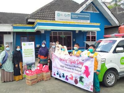 Spirit of Hijab Day: SMP Swasta Al-Amjad Medan Berbagi Paket Jilbab dan Sembako Ke RSP IZI – YBM PLN Sumatra Utara