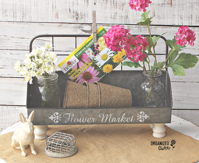 A French Upcycle For A Hobby Lobby Metal Planter #frenchcountry #frenchstyle #galvanizedplanter #Hobbylobby #stencil #upcycle