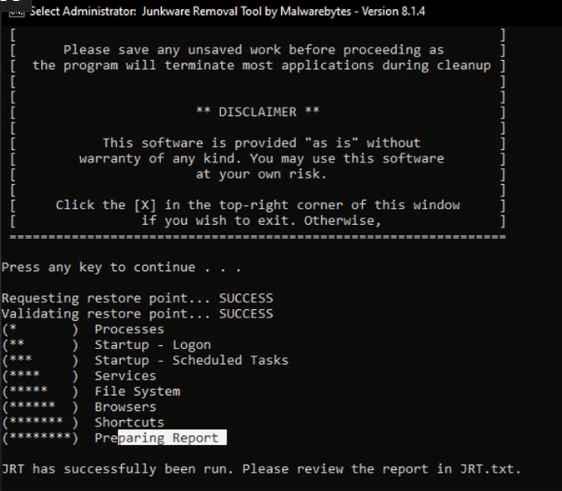 Junkware Removal Tool حذف البرمجيات الغير مرغوب
