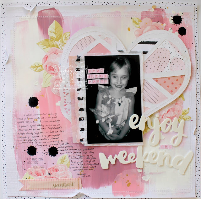 """ Enjoy the weekend"" layout by Bernii Miller for Sugar Maple Paper Co."