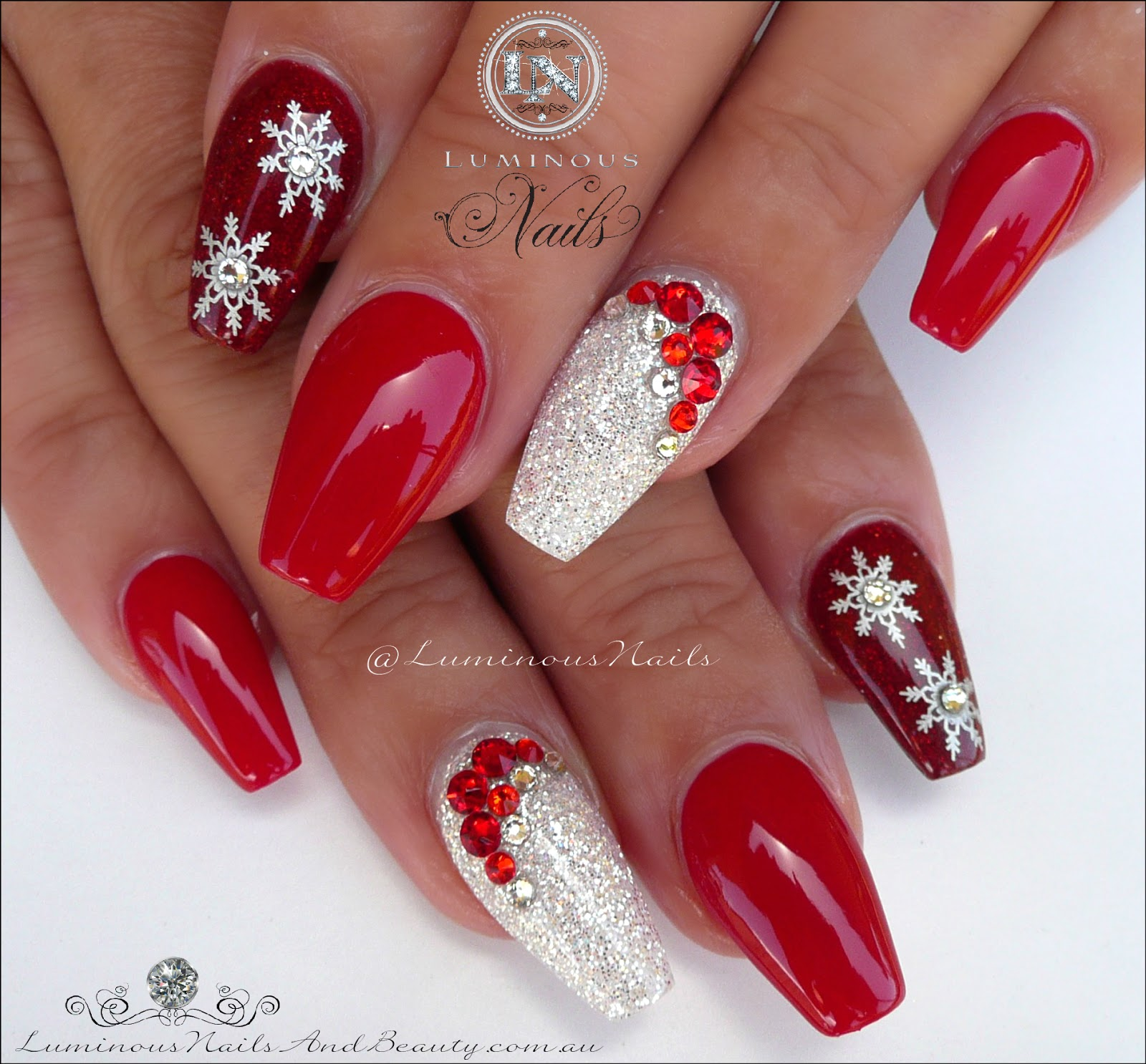 red white christmas nails acrylic gel nails