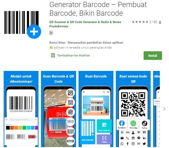 Aplikasi Pembuat Barcode Sendiri Gratis di HP Android