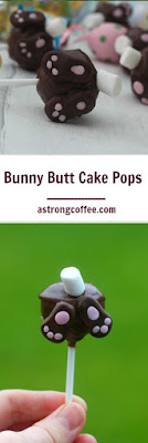 Easy to make bunny butt cake pops with a mini marshallow tail