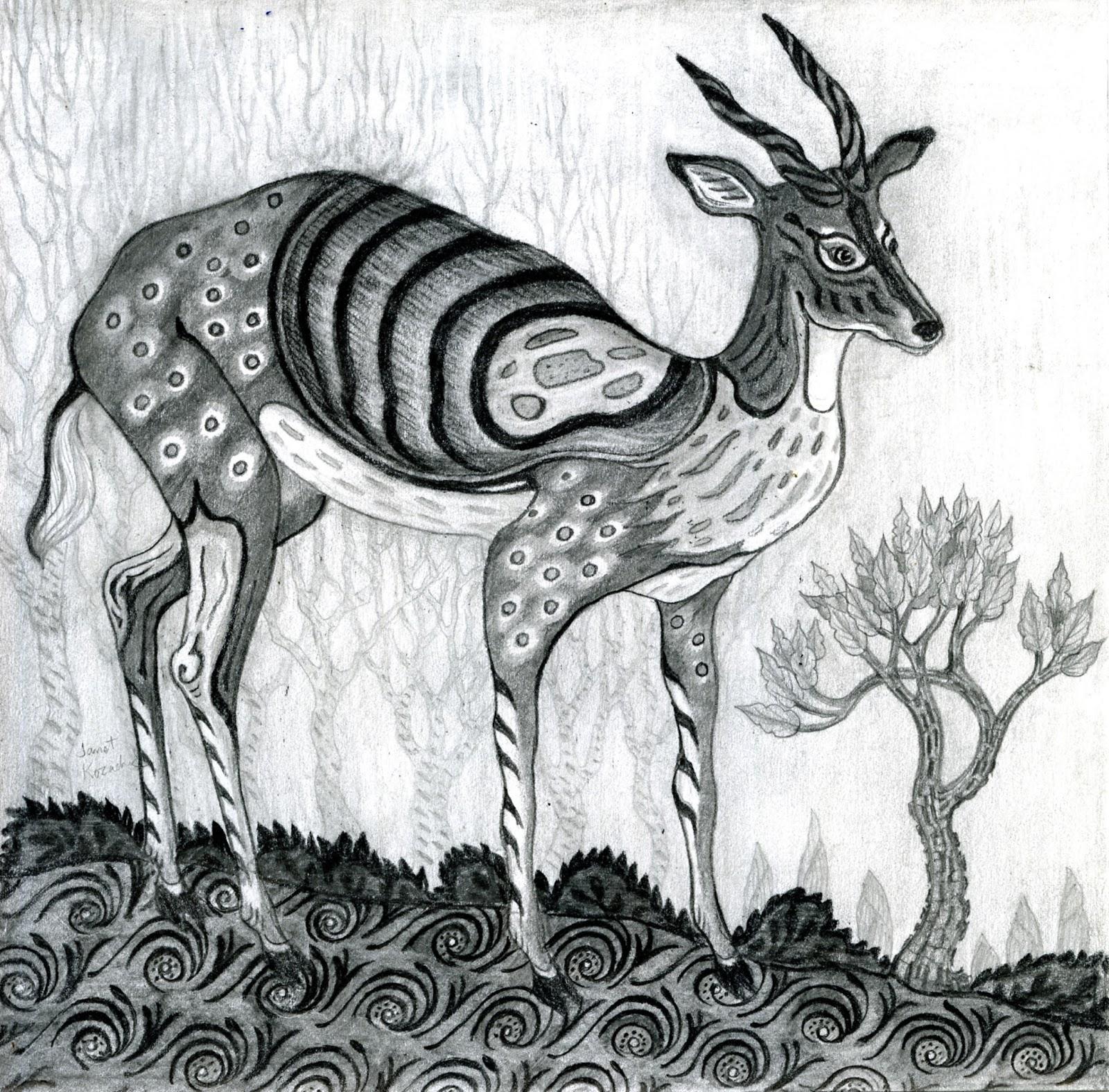 Decorative pencil drawings of deer