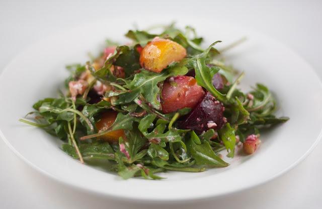 Roasted Beet Walnut and Parmesan Salad