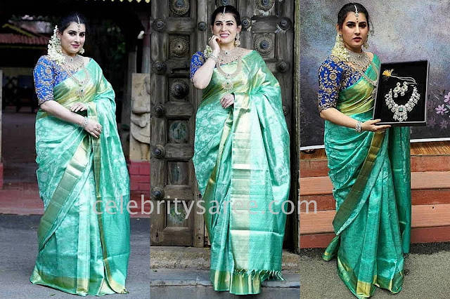Archana Sea Green Silk Saree