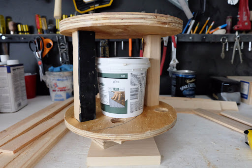wood spool planter base inside