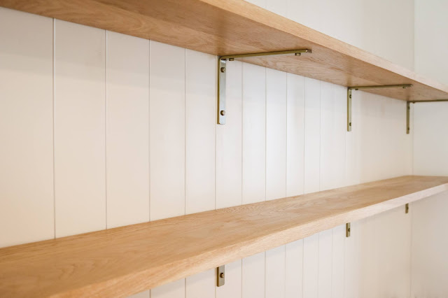White Oak Shelves, Brass Brackets, and Shiplap