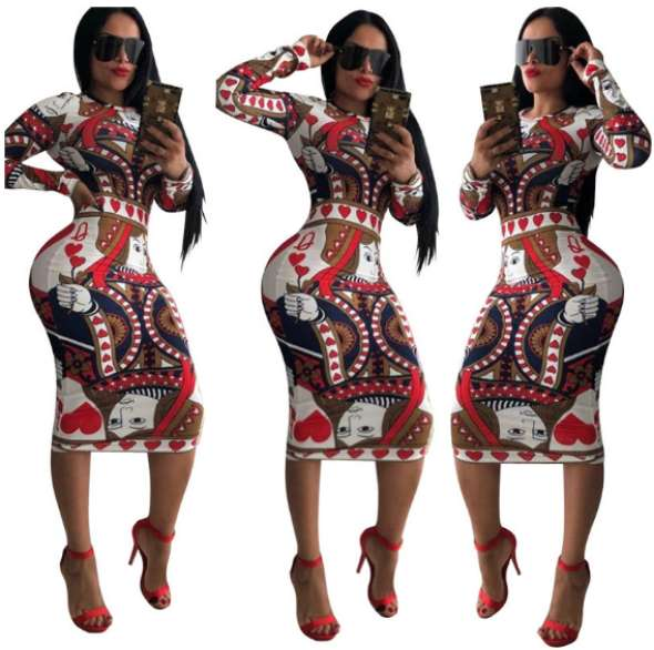 Women Dress Multicolor Print Novelty Women Clothes Long Sleeve