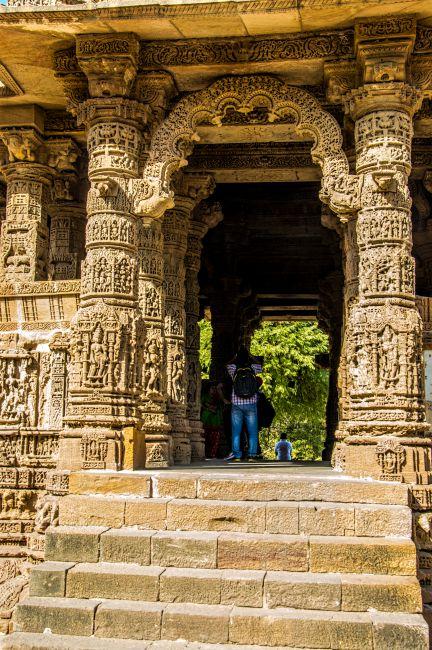 Highly ornate entrance of Rang Mandap