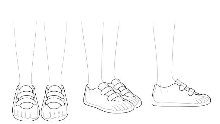 Sepatu lari anime melihat melalui gambar