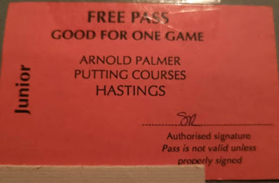 My brother Christopher found this Free Game Pass for the Arnold Palmer Putting Course in Hastings while looking through our old family photo albums. One of us must have won it on a holiday there in the 80's or 90's!