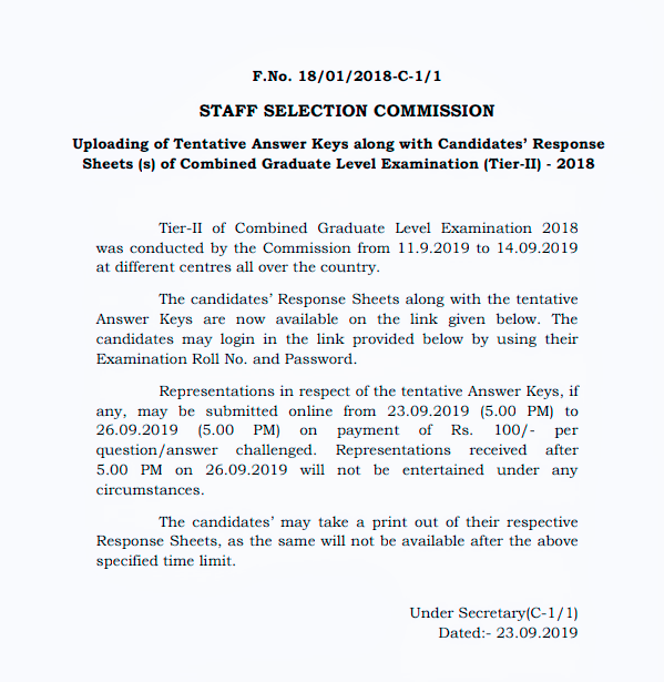 Combined Graduate Level Examination (Tier-II) - 2018