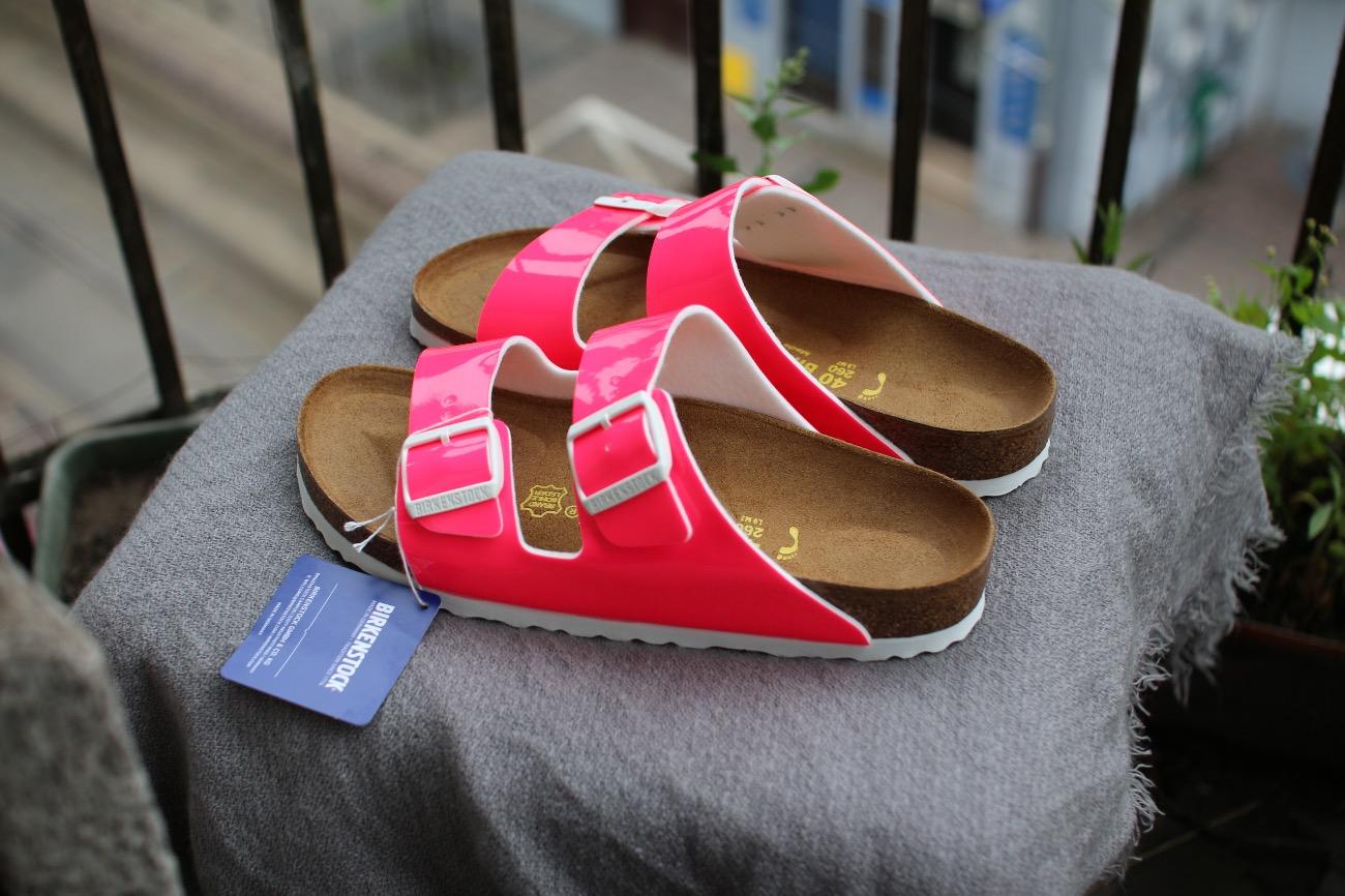 neon pink birkenstock arizona