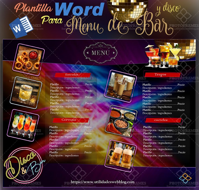Discoteque, bar, cocktail menu Office Word template