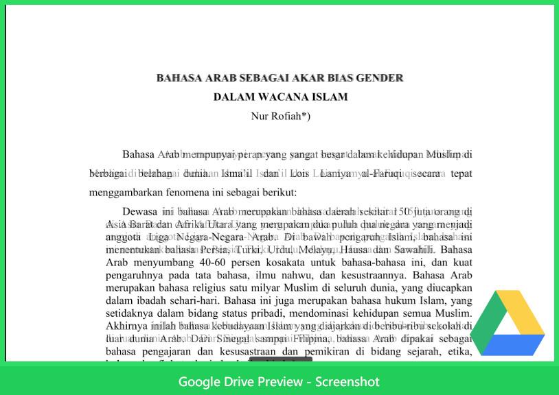 Contoh Makalah Agama Tentang Bahasa Arab Dan Bias Gender Dalam Islam