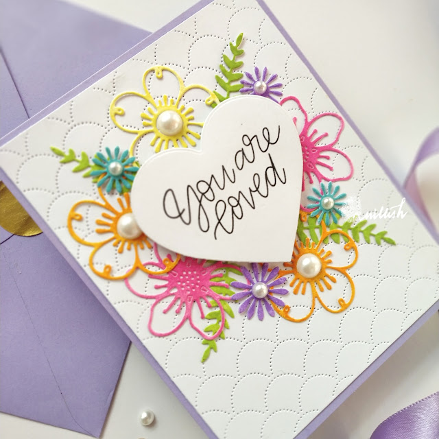 Video Tutorial, Valentine's Day card, CAS Valentine's day card, Floral dies card tutorial, Sweet and simple valentine's day card, STAMPLorations floral dies, Quillish, cards by Ishani