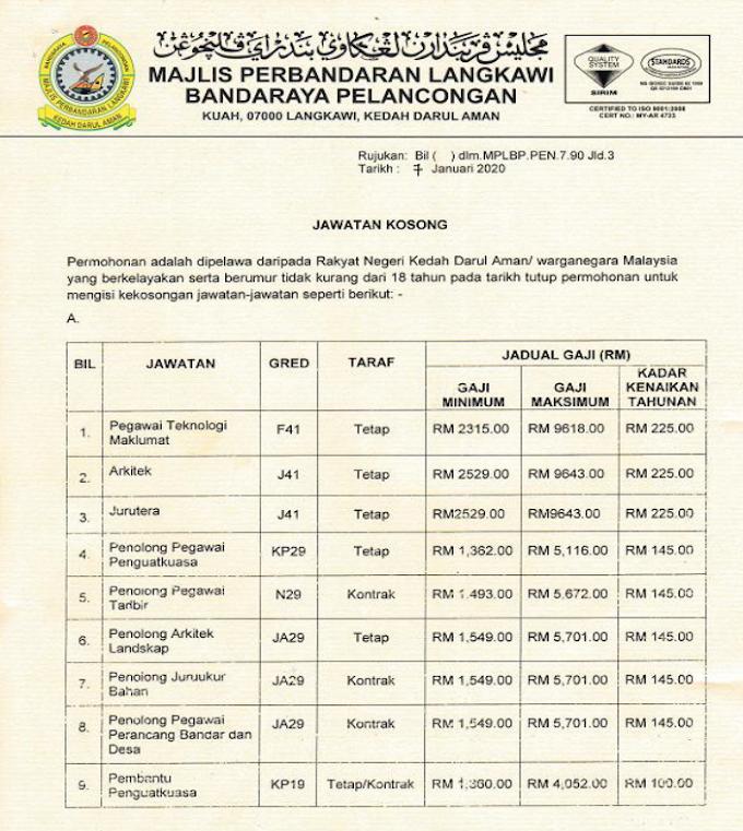 Jawatan Kosong Terkini di Majlis Perbandaran Langkawi Bandaraya Pelancongan (MPLBP)