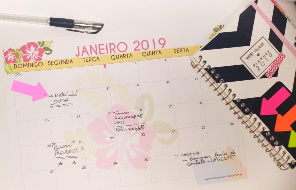 Calendário 2019 gratuito para imprimir