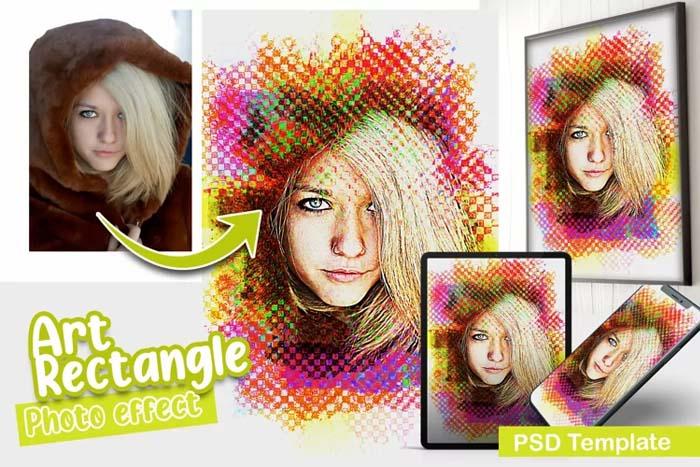 Art Rectangle PSD Photo Template
