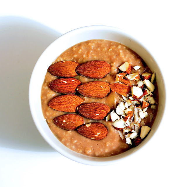 Vegan chocolaty almond milk porridge