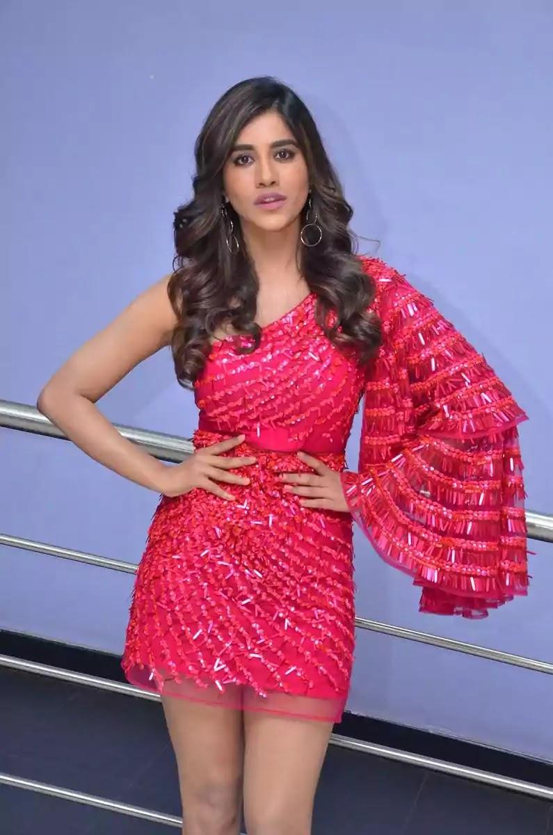 nabha-natesh-hot-looks-in-pink-one-shouldered-mini-dress