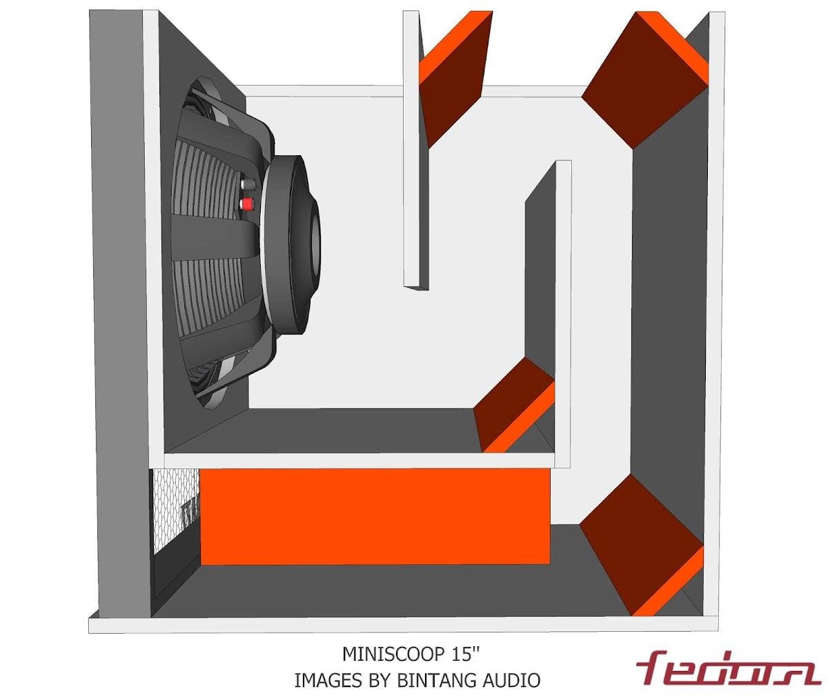 Tampak samping full box speaker Miniscoop 15 Inch