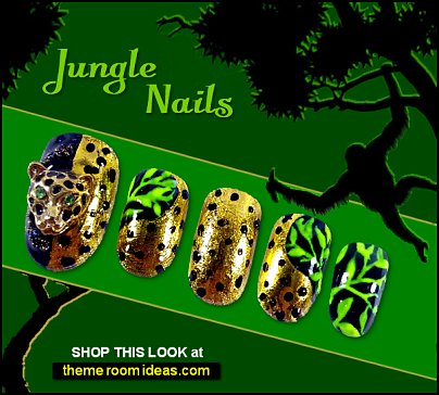 Jungle nails leopard False nails wild animal nail designs safari jungle animal print nails
