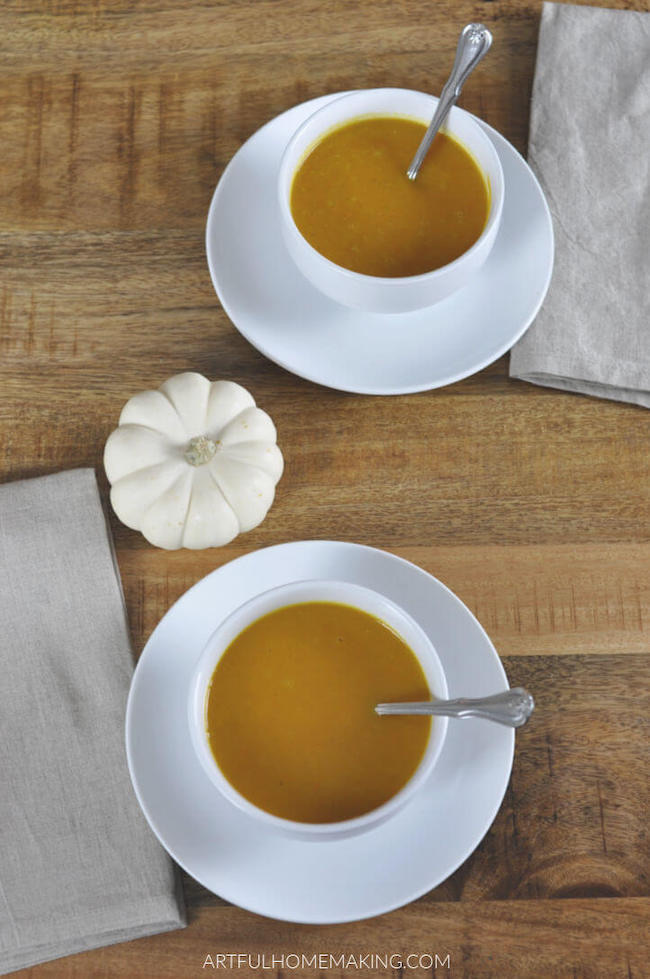 Butternut Squash Soup by Artful Homemaking featured at Pieced Pastimes