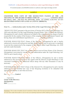 board resolution for legal metrology
