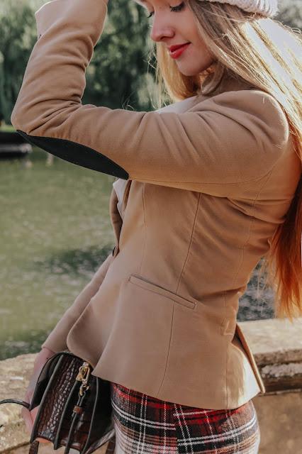 Zara Camel Elbow Patch Blazer