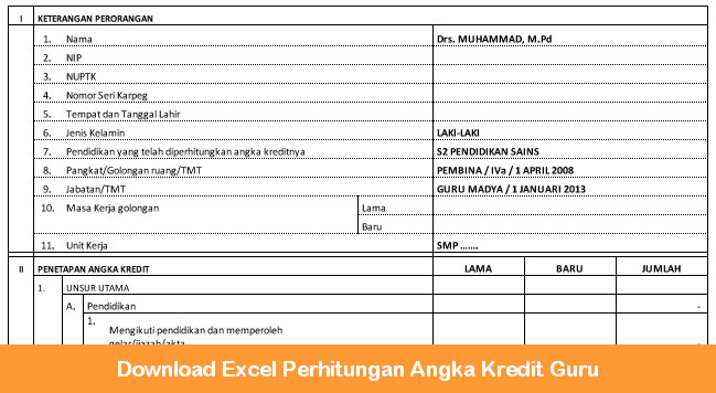 Download Excel Perhitungan Angka Kredit Guru