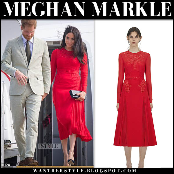 Meghan Markle in red embroidered midi dress self portrait tonga royal tour style october 25