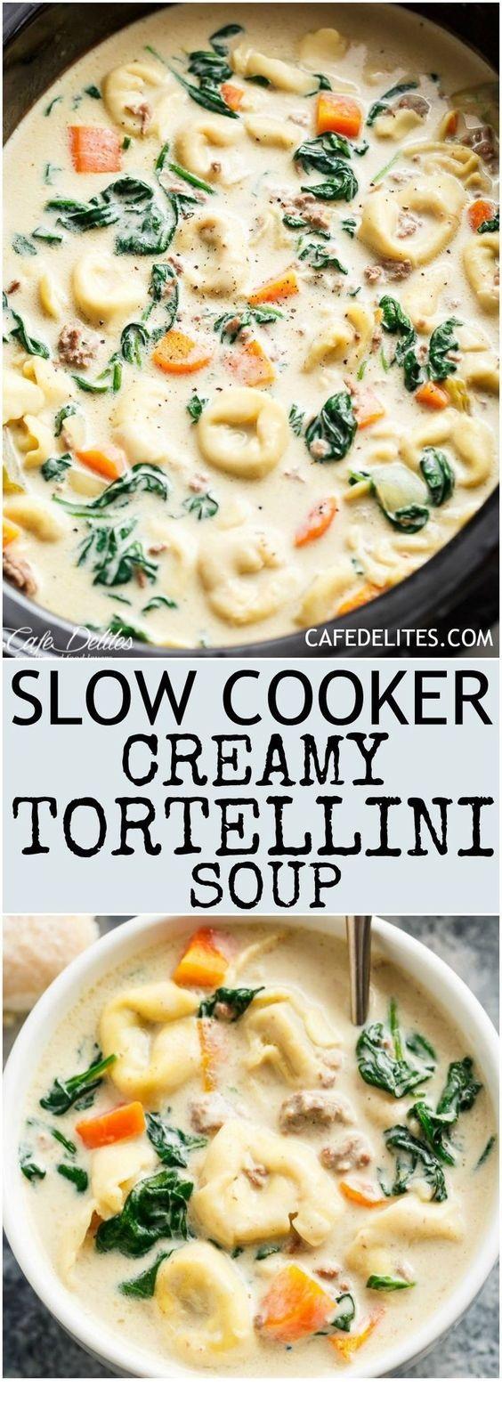 Slow Cooker Creamy Tortellini Soup