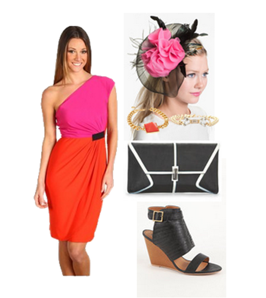color blocking derby dress pink fascinator