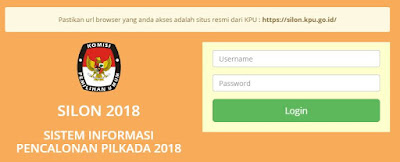 Login Aplikasi Silon 2018